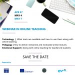 Webinar on Online Teaching offered by ATHENA European University Consortium, 27th of April, 4th & 7th of May 2020
